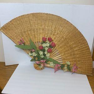 Extra Large Wicker Wood Fan   Wall Decor   70's